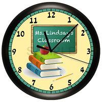 Teacher Wall Clock Chalkboard Classroom Decor Gift Personalized Customize