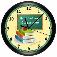 Teacher Wall Clock Chalkboard Classroom Decor Gift Personalized Customize