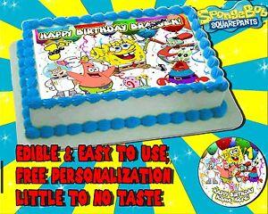 Details about SPONGEBOB SQUAREPANTS Cake Topper Edible Picture birthday sugar paper sheet