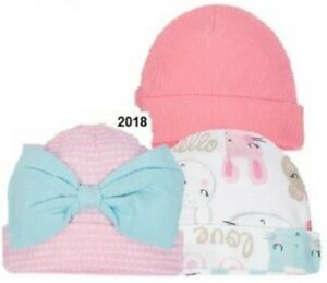 65a36bf0b Details about GERBER NEWBORN BABY GIRL'S 3-Pack Organic Cotton Caps Hats -  BUNNY - Pink - NWT