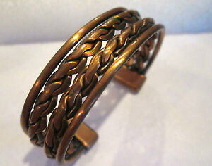 Solid-Copper-Thick-Twisted-Braided-style-cuff-Bracelet