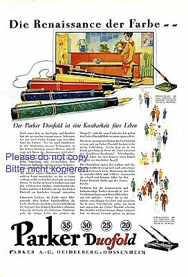 Fountain Pen Parker Duofold Xl German Ad 1929 Heidelberg Dossenheim Color Suitable For Men And Women Of All Ages In All Seasons Advertising-print