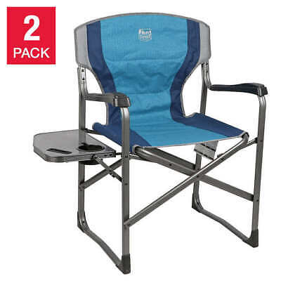 Timber Ridge Directors Chair Camping Full Back Padded Supports 300lbs Folding Aluminum Portable Lightweight Chair with Side Table Outdoor