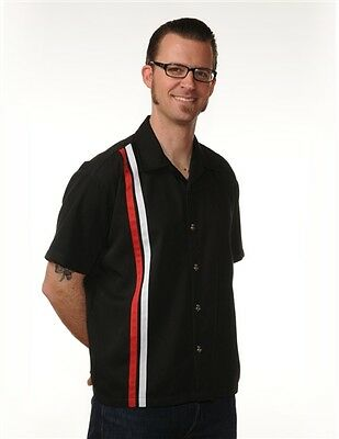 ROCK STEADY CLOTHING V-8 BUTTON RACER BLACK RED WHITE BOWLING WORK SHIRT S-3XL
