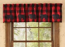 RED BUFFALO CHECK VALANCE : BLACK BEAR CABIN LODGE PLAID COUNTRY WINDOW