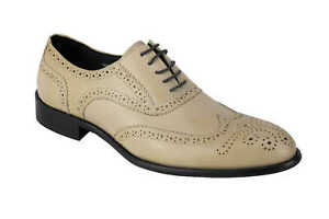 mens beige real leather lace up dress shoes wingtip brogue