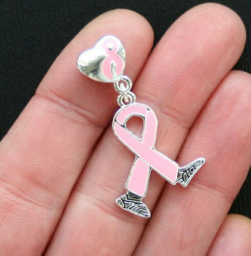 Breast Cancer Charms Pink Ribbon Awareness Walk for the Cure with Bail Bead E096