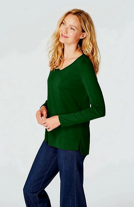 J. Jill - 2X(Plus) Perfect 100% Pima Cotton Spruce V-Neck Long-Sleeve Tee - NWT