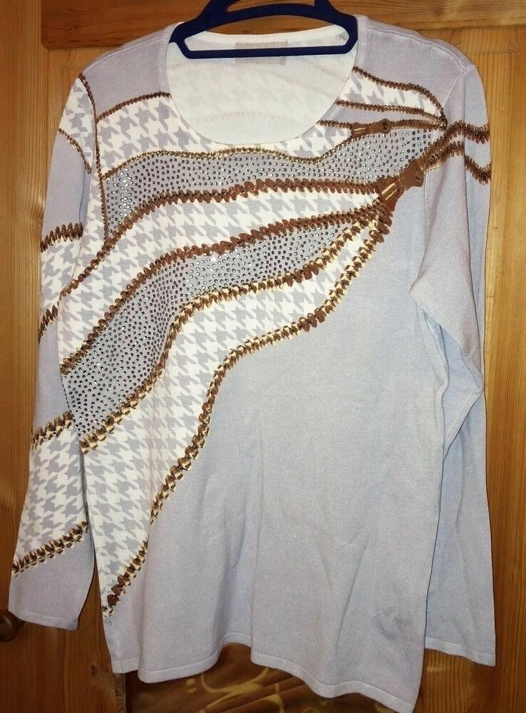 Ovanti Pull Gris Blanc Taille 42 Neuf, Viscose Glissière U. Motif Pied De Poule-ter