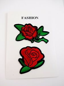Red rose patches iron on embroidered set of two decorate jeans jacket backpack