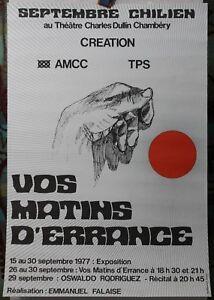 """Affiche Originale ✤ Septembre CHILIEN """"Vos Matins d'Errance"""" ✤ Chambéry ✤ 1977 Pd90P64o-07210933-741356033"""
