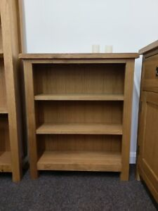 Baysdale Rustic Oak Low Wide Bookcase Bookshelf Shelving Unit 70cm