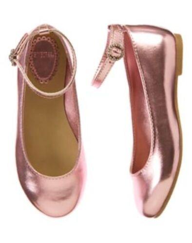NWT Gymboree Picnic Party Pink metallic pink Dressy Flats Shoes 10 1 2