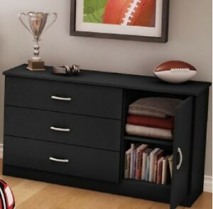 drawer dresser chest black cabinet modern storage bedroom furniture