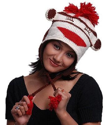 New Animal Face Hat White Black STRIPED MONKEY  Beanie Winter Ski Cap ADULT Gift