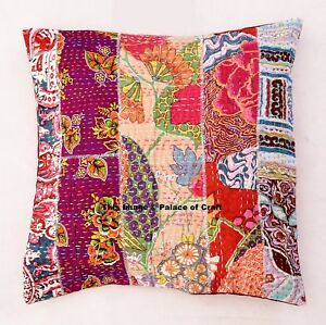 Floral-Patchwork-Kantha-Indian-Cushion-Cover-Cotton-Sofa-Pillow-Cover-Home-Decor