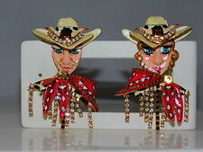 Vtg 80's LUNCH AT THE RITZ Cowboy Cow Couple  Clip Enamel Rhinestone Earrings