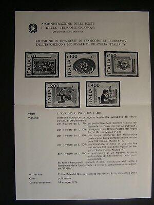 """Europa WunderschöNen 1976 Italien Vorläufer Bulletin """" Belichtung Welt Italien 76 """" B/nero"""