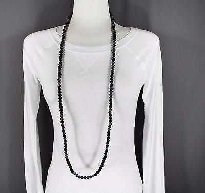 """Black super extra long bead 44"""" necklace beaded wrap double look"""