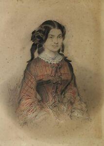 Auguste-Henri-J-PIDOUX-1809-1870-Portraet-Von-Junges-Frau-Zeichnung-Original