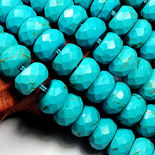 """6x10mm Faceted Blue Turquoise Roundlle Loose Beads 16/"""""""