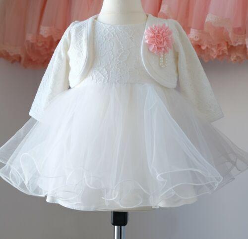 2tlg Taufkleid Bolero Festkleid Spitze Blumenmädchen Mädchenkleid 62-92 M19