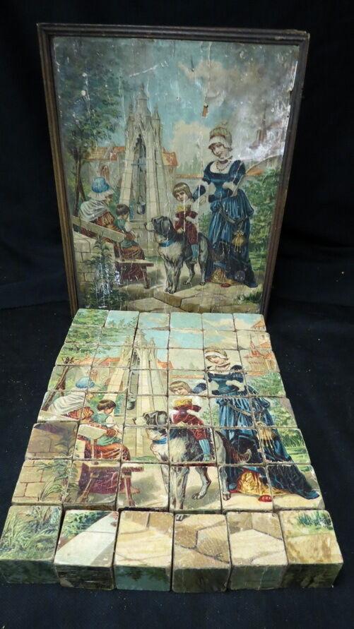 Época de la guerra civil Victoriano bloque de madera conjunto de puzzle 6 caras en Caja De Madera Usado Raro