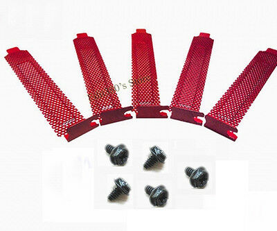 5pcs New Standard ATX Case Vented Meshed PCI Slot Covers brackets Shield Red