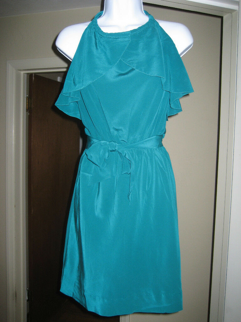 FALLS Brand Split Ruffle Front Grün Silk Dress M NWT