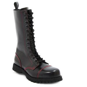 Boots & Braces 14 Agujero Botas y Rangers negro con roja Costura Nuevo