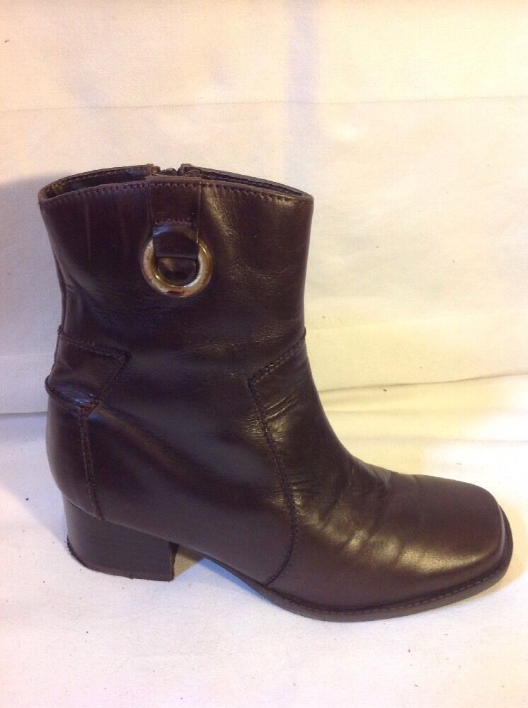 Bhs Brown Ankle Leather Boots Size 3