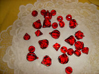 Red Acrylic Gem Jewels Floral & Candle Decor Crafts W/ Center Holes In Pkg