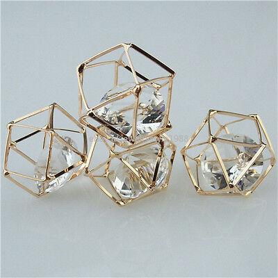 13422 2PCS Copper Rose Gold Hollow Rhinestone Pierced Irregular Pendant Charms
