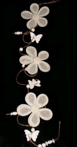 120 cm trendy Stoff Blumen Girlande Perlen+Schmetterlinge Posten Preis 5714