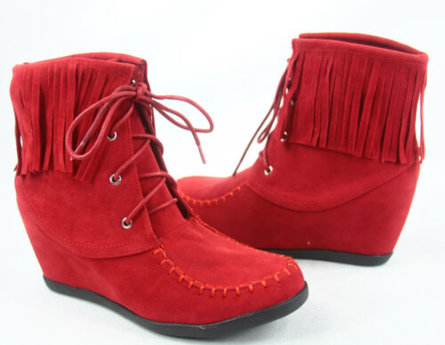 NEW Women/'s Causal Lace Up Fringe Wedge Sneaker Booties Shoes Size