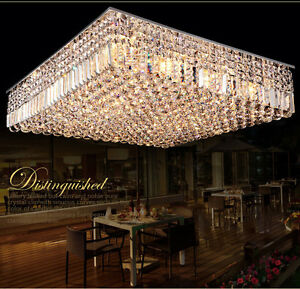 Modern Luxury LED Crystal Square Pendant Light Ceiling