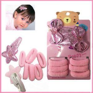 Bow Hair Clips Set Kids Snap PINK 6 Bobbles Baby Girls Style Gift Kit Hairpins