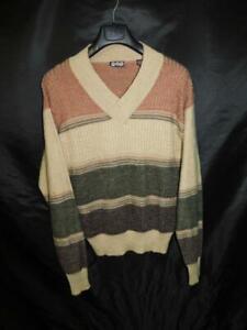 Vintage-Gap-L-Mens-Brown-Olive-Green-Striped-Sweater-V-Neck-Textured-Knit-Lg