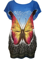 NEW PREPPY BLUE CAP SLEEVE BUTTERFLY PRINT RUCHED TUNIC FreeSize Fits 10-12-14
