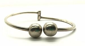 Taxco-Mexico-Vintage-Oxidized-Sterling-Silver-Wrap-Ball-Bangle-Curved-Bracelet