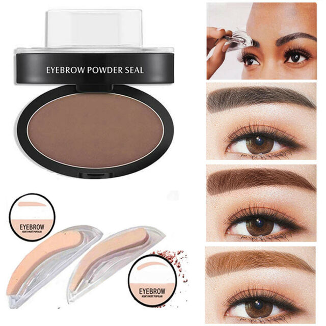 Women Natural Eyebrow Powder Makeup Brow Stamp Palette Shadow Definition Kit #