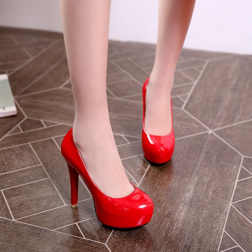 Talons aiguilles Chaussures éscarpins éscarpins éscarpins Élégant femme plateau 11.5 rouge 8554 9b63bd