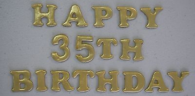 EDIBLE WORDS: HAPPY BIRTHDAY WITH NUMBERS - IN GOLD SHIMMER.... AWESOME!!!