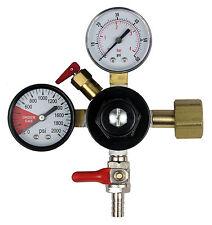 Dual Gauge CO2 Gas Regulator with 5/16in Shutoff Valve (0-60 PSI)