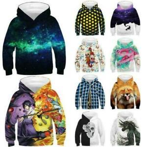 Kids Boys Girls 3D Print Creative Hoodie Pullover Casual Sweatshirt Jumper Tops