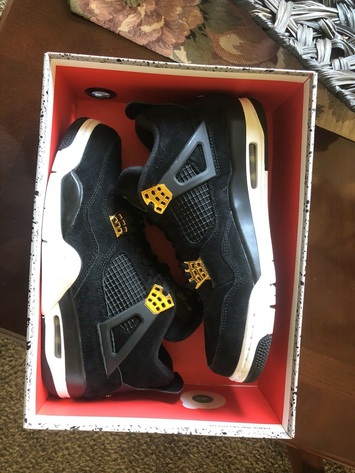 Air Jordan 4 Retro Royalty Black Metallic gold Size 9.5
