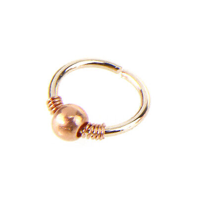 Unisex Steel Beads Nose Ring Piercing Ear Lip Cartilage Helix Hoop Body Jewelry