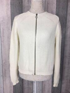 M-amp-S-Coleccion-Crema-100-Algodon-Cremallera-a-traves-de-cardigan-Size-UK-14