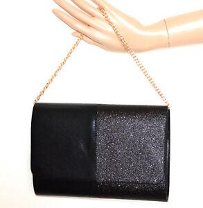 BOLSO-CLUTCH-bag-mujer-NEGRO-glitter-elegante-cadena-dorada-sa-ok-taska-G24