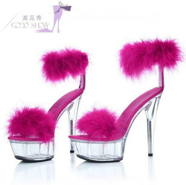 produttori fornitura diretta Summer Hot Sexy 15cm High High High Heels donna Nightclub Fur Trim Platform Clear scarpe  Miglior prezzo